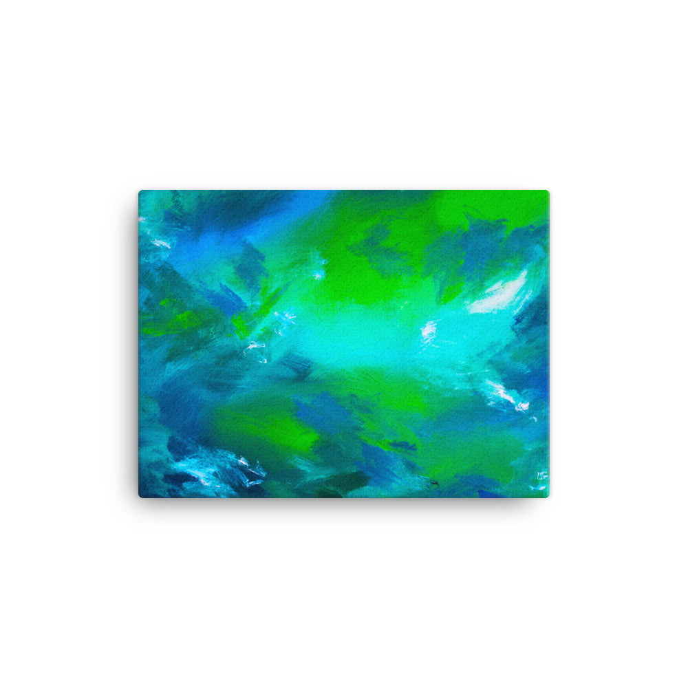Blue green abstract canvas print 12 x 16 inches
