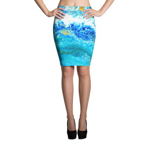Blue Gold Ocean Abstract Pencil Skirt