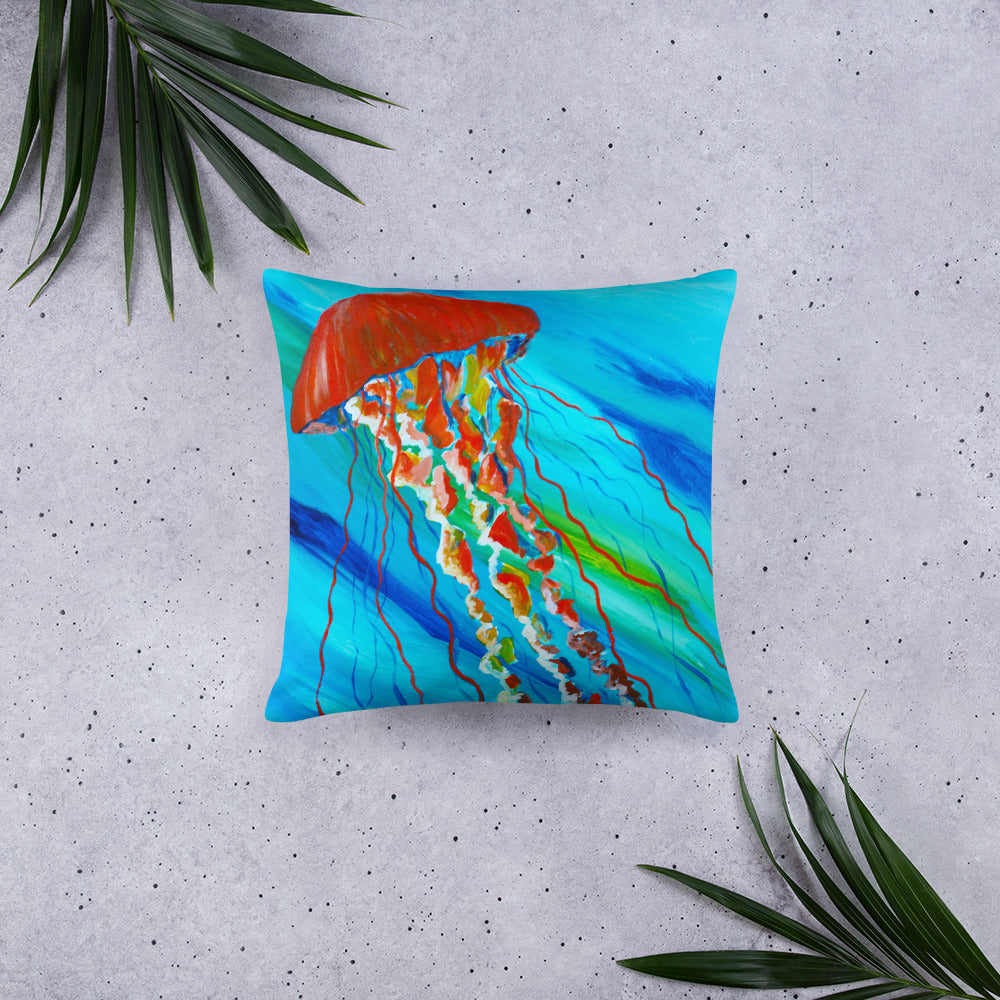 Orange Jellyfish • Basic Pillow front 18 x 18 in