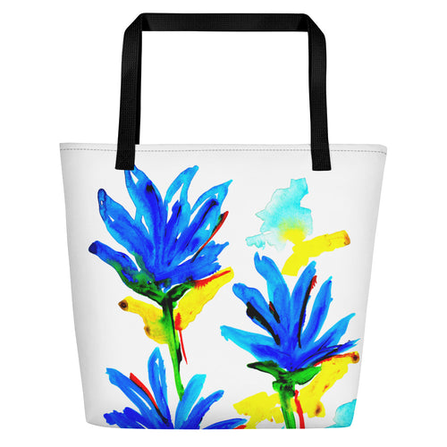 Blue Flowers Beach Bag
