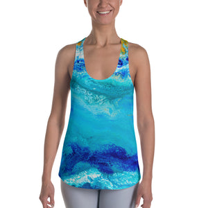 Blue Gold Ocean Abstract Women's Racerback Tank