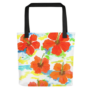 Hibiscus On Blue Tote Bag