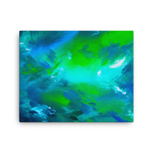 Blue green abstract canvas print 16 x 20 inches
