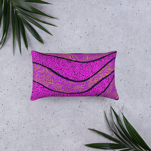 Purple abstract pattern on rectangle pillow front
