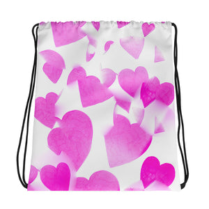 Pink Hearts Drawstring Bag