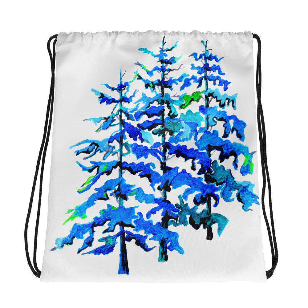 Blue Pine Tree Drawstring Bag