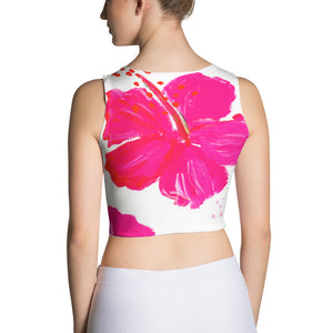 Pink Hibiscus Fitted Crop Top