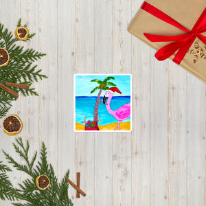 Flamingo Christmas Palm Tree  Sticker