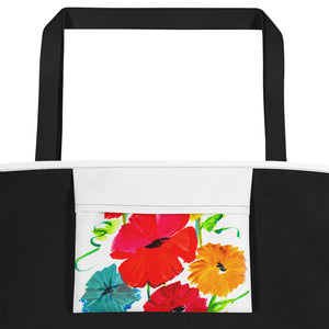Spring Flowers Beach Bag Inside Pocket View
