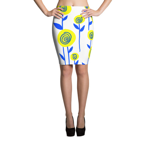 Yellow and Blue Flowers Pencil Skirt
