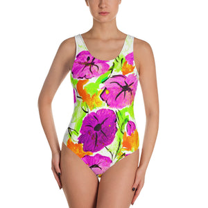 Purple Flowers On Orange One-Piece Swimsuit