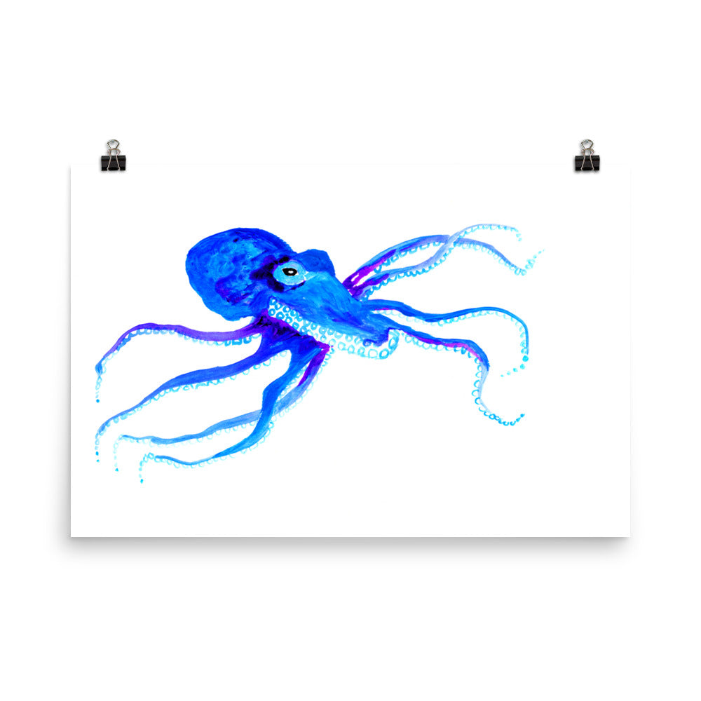 Blue Octopus Art Print