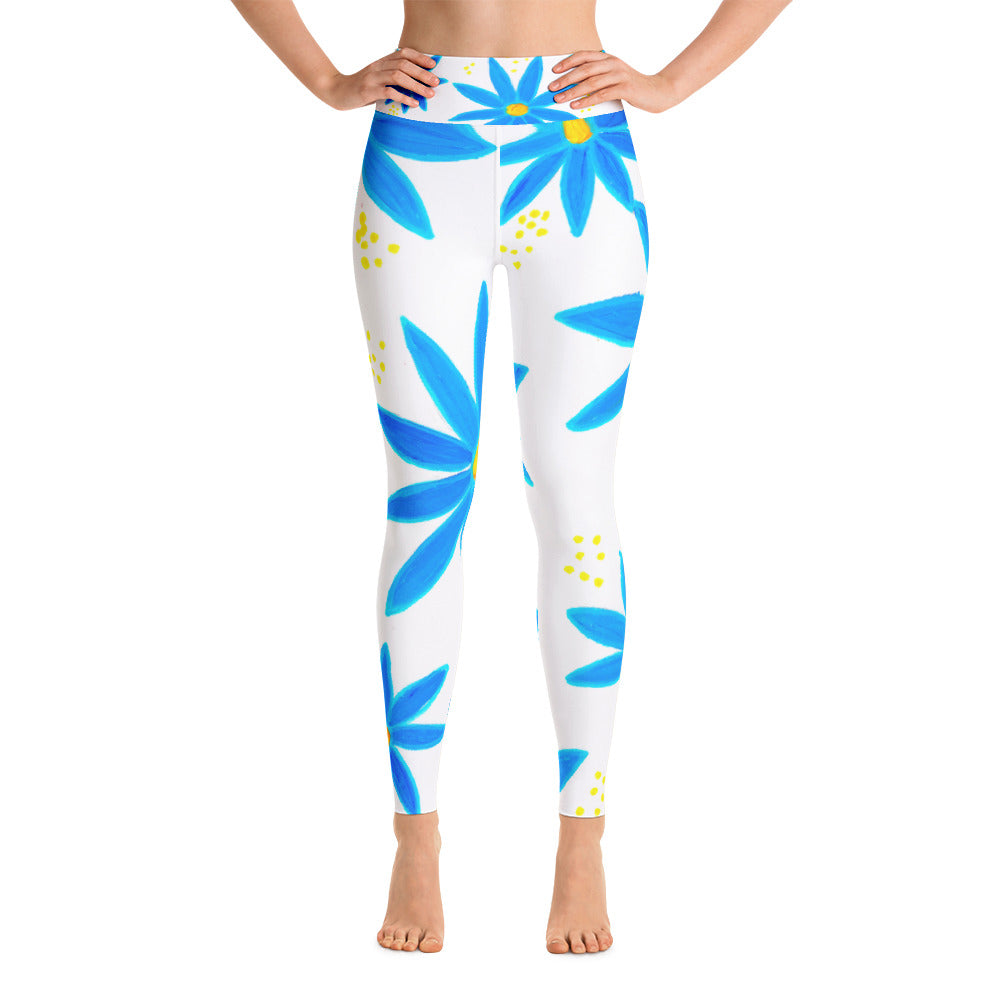 Blue Daisies • Yoga Leggings