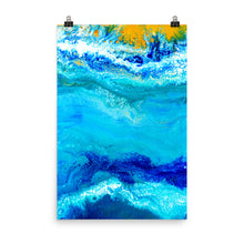 Blue Gold Ocean Abstract Art Print