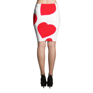Red Hearts Pencil Skirt