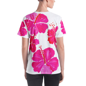 Pink Hibiscus Ladies T-Shirt