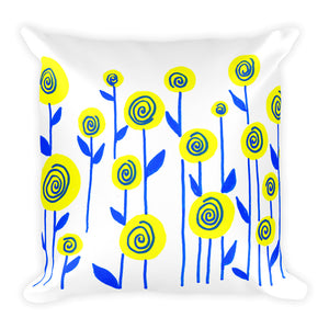 Yellow and Blue Flowers Square Pillow