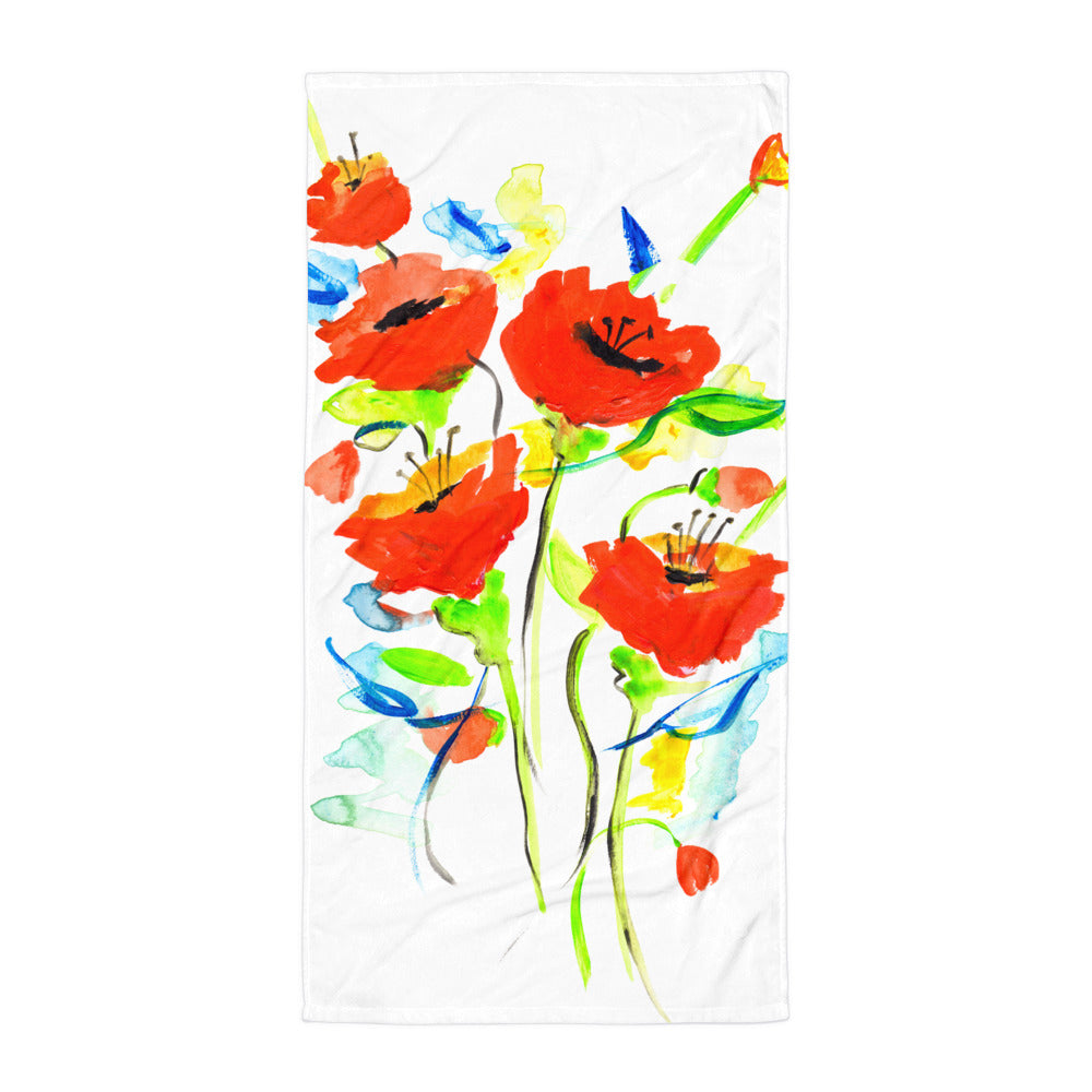 Poppies On Blue • Towel