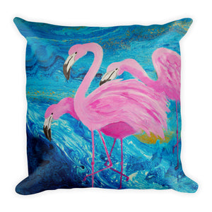 Flamingos on Blue Square Pillow