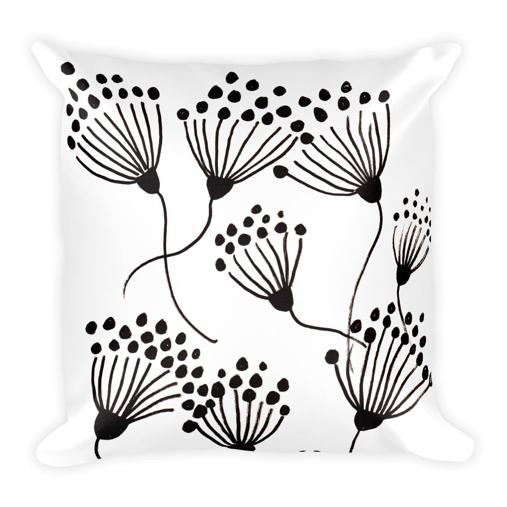 Black Thistle Square Pillow