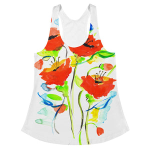 Poppies On Blue • Women's Racerback Tank