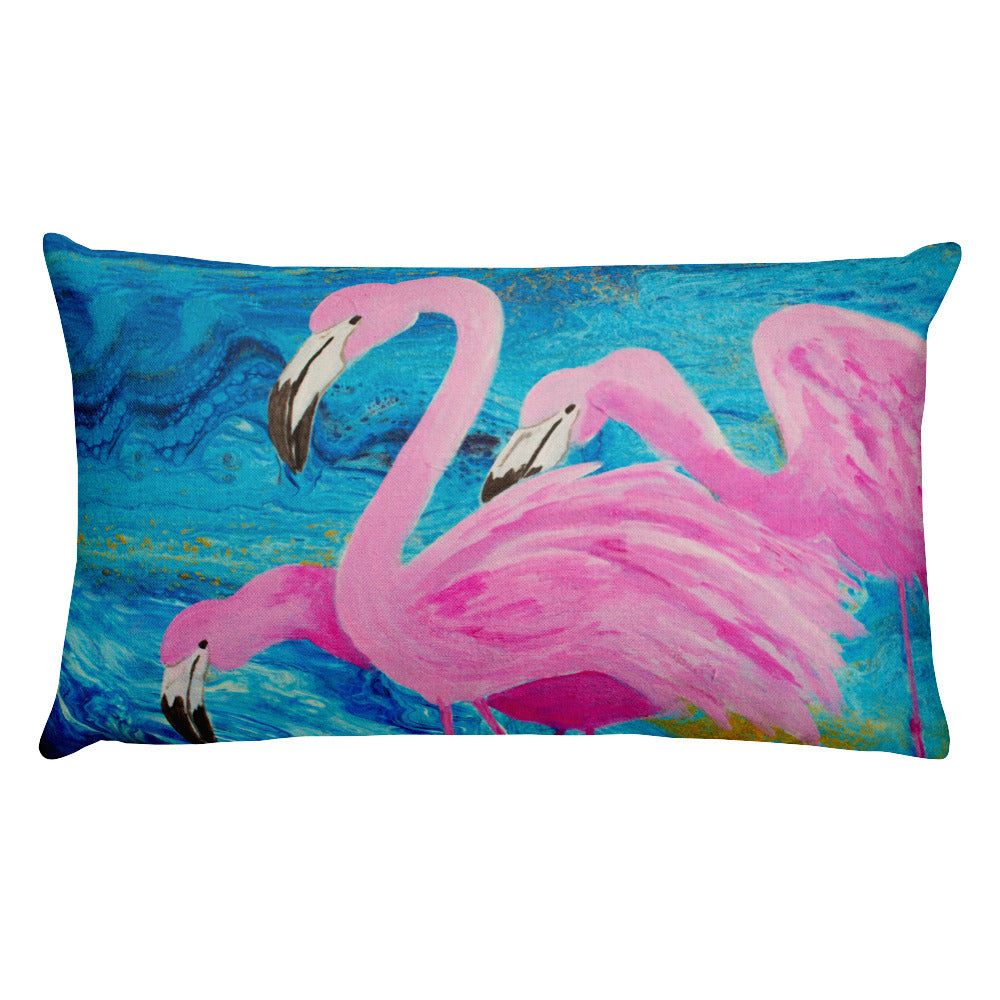 Flamingos On Blue Rectangular Pillow