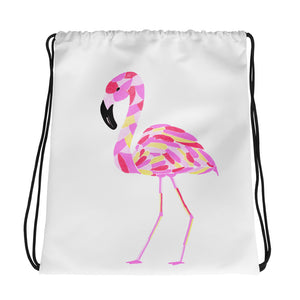 Mosaic Flamingo Drawstring Bag