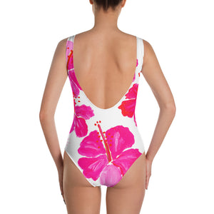 Pink Hibiscus One-Piece Swimsuit