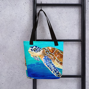 Brown Sea Turtle • Tote bag