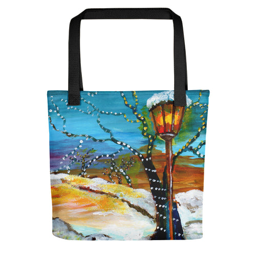 Lights In The Snow • Tote Bag