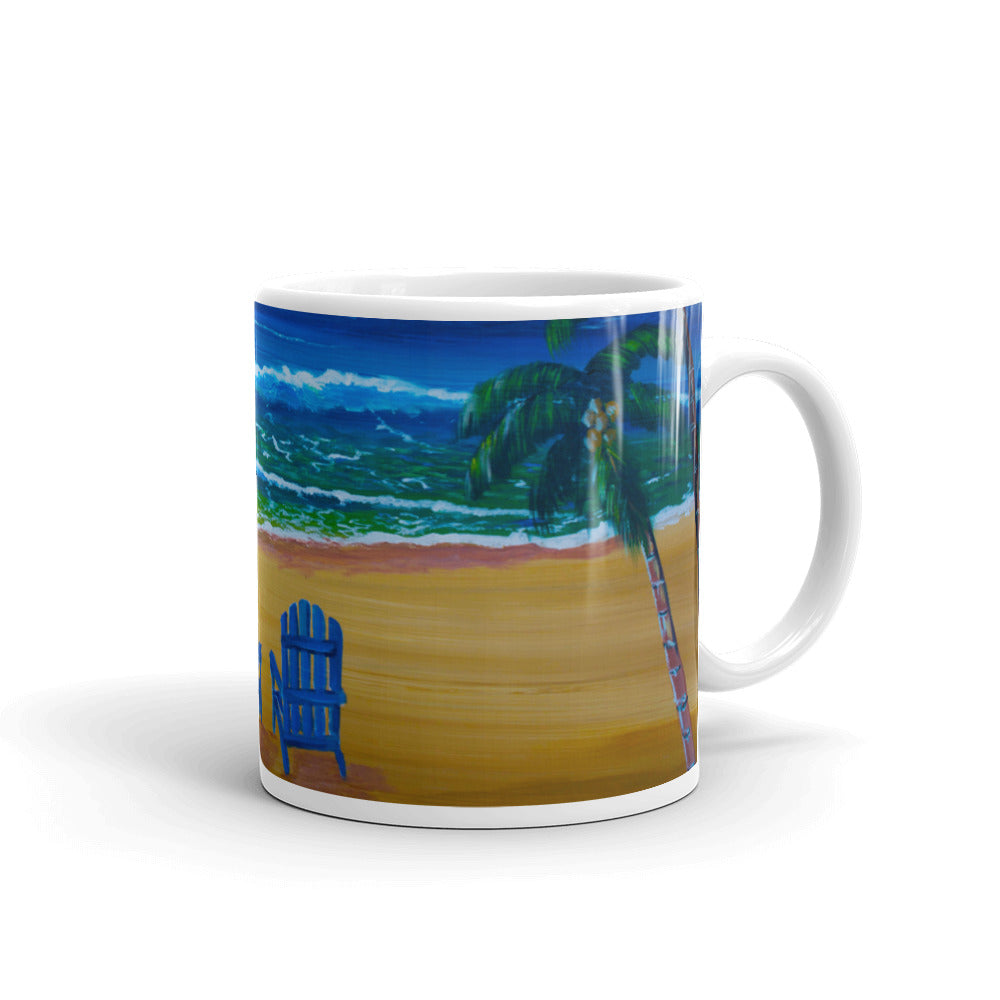 Blue Beach Chairs On The Beach Mug
