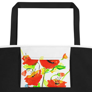 Poppies On Blue Beach Bag Inside Pocket View