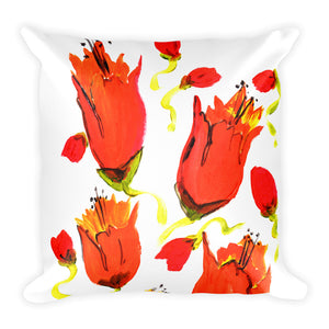Red & Orange Closed Flowers • Square Pillow