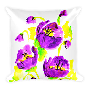 Purple Poppies Square Pillow