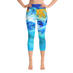 Blue Gold Ocean Abstract Yoga Capri Leggings