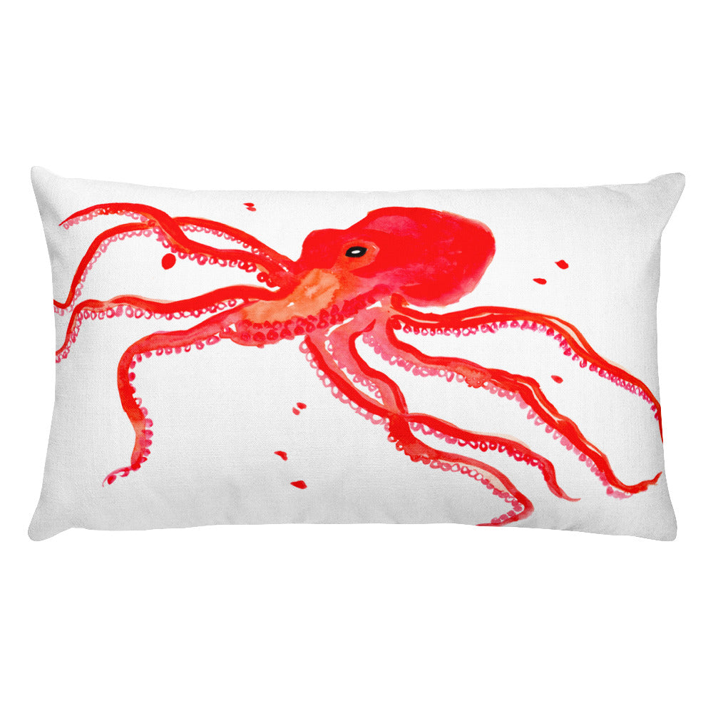 Red Octopus Rectangular Pillow