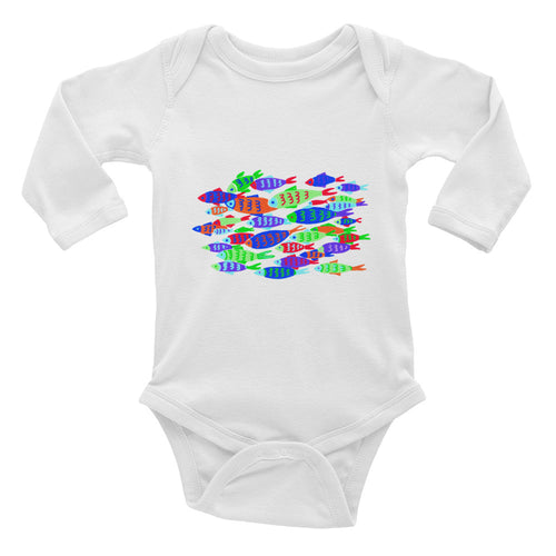 Colorful Fish Infant Long Sleeve Bodysuit
