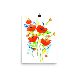 Poppies On Blue • Art Print