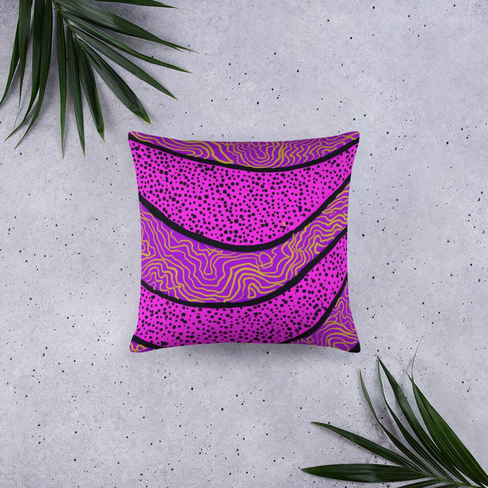 Purple abstract pattern on square pillow front