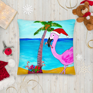 Flamingo Christmas Palm Tree Square Pillow Front