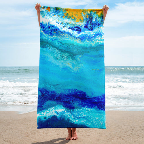 Blue Gold Ocean Abstract Towel