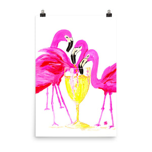 Three Flamingos in White Wine • Art Print