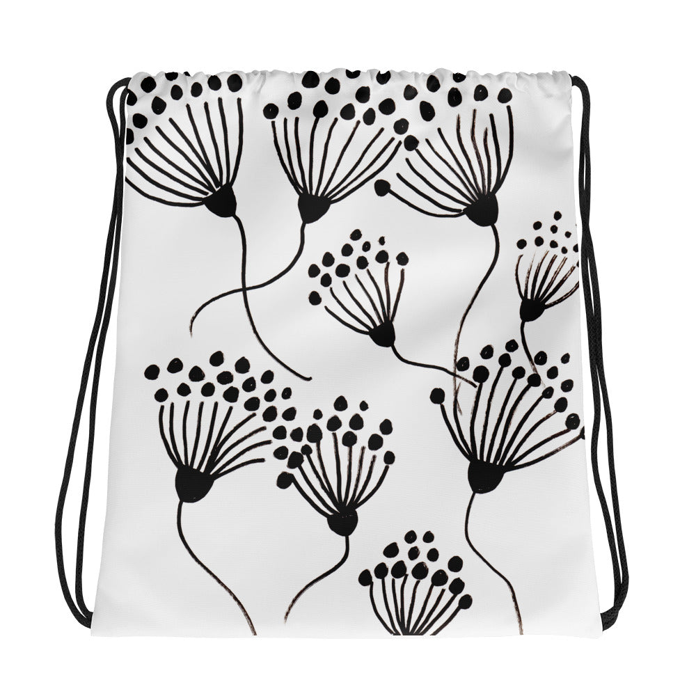 Black Thistle Drawstring Bag