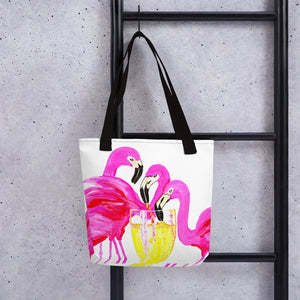 Three Flamingos in White Wine • Tote bag