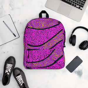 Purple abstract print on backpack