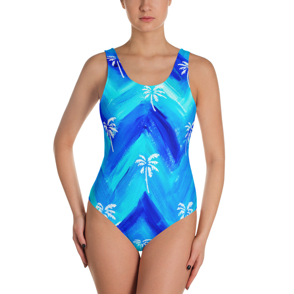 Palm Tree Pattern One-Piece Swimsuit