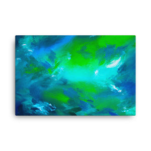 Blue green abstract canvas print 24 x 36 inches