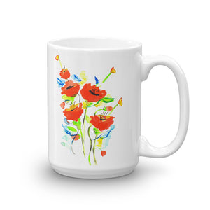 Poppies On Blue • Mug