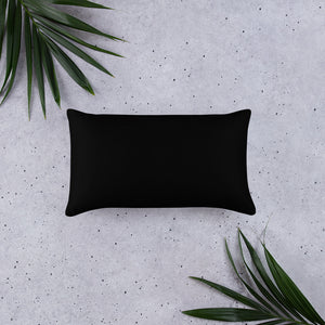 Purple abstract pattern on rectangle pillow black back