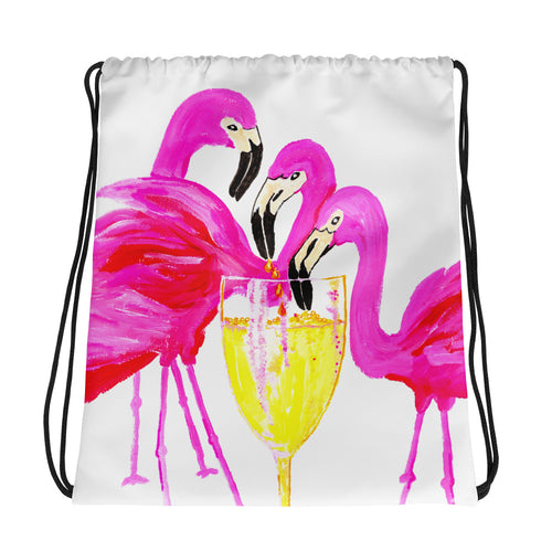 Three Flamingos in White Wine • Drawstring bag